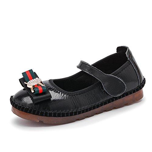 Qianliuk Kinder Girls Flat Casual Schuhe Velcro Anti-Slip Sohle Chunky Bowknot Modeschule Tragen Walking Toddle Kleine Große Kinder im Alter von 4-12 Jahre Alt