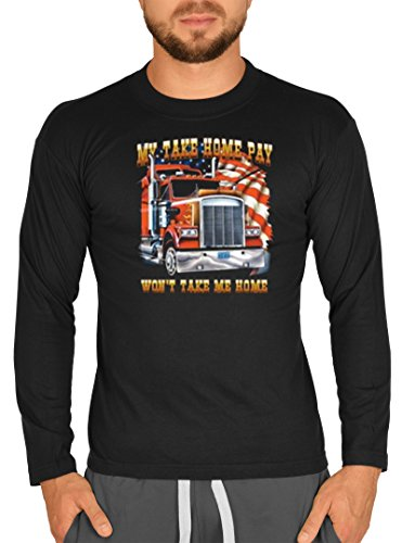 Lkw Trucker Road Motiv Longsleeve: My take home pay won't take me home -- Herren Langarmshirt / schwarz Schwarz
