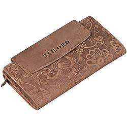 STILORD 'Lorelai' Cartera Piel Mujer Monedero Grande Vintage Billetera para Tarjetas DNI Billetes de Cuero auténtico, Color:Naturaleza - marrón