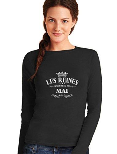 Green Turtle T-Shirts les Reines Sont Nées en Mai - Anniversaire T-Shirt Manches Longues Femme Noir