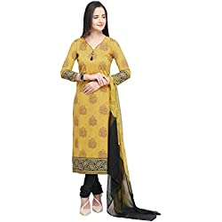 Vaamsi Women's Dress Material (Deep1054_Yellow_One Size)