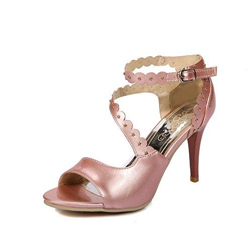 YCMDM Mode féminine Artificielle Pu High Heel Sandales creuses respirantes Party Evening Wedding Bridal Pink