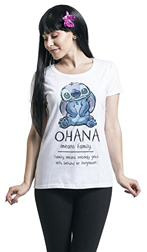 Lilo & Stitch Ohana Means Family Girl-Shirt weiß -