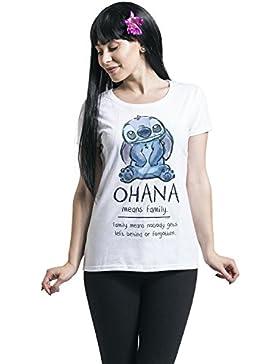 Lilo & Stitch damas de Disney camiseta blanca de algodón familia Ohana Medios