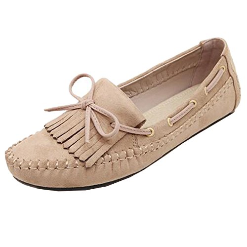 Sunavy Mocassins Senhoras Borboleta Bailarinas, Condução Novo Liso Menina Confortáveis mocassins Arco Chinelos Sapatos 2017 Sapatos (ue 34 - Eu 43) De Damasco
