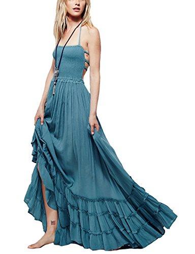 Latinaric Robe D'été Élégante Robe de Plage Sans Manches Dos Nu Party Bal Bleu