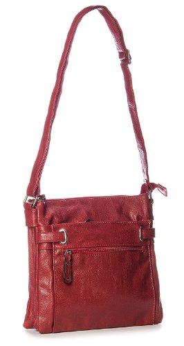 Big Handbag Shop - Borsa messenger da donna, con tracolla e tasche multiple, misura media Marrone (Cammello medio)
