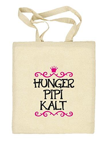 Shirtstreet24, Hunger Pipi Kalt, Prinzessin Natur Stoffbeutel Jute Tasche (ONE SIZE) Natur