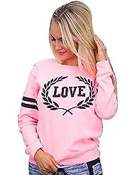 Reaso Femmes Sweat-shirt Hiver Pullover Casual Blouse Chic Tunique Manche longue Shirt Elegant One shoulder Décontractée Lettres Imprimé Coton Haut Hemd Mode Crops Tops Chemisier