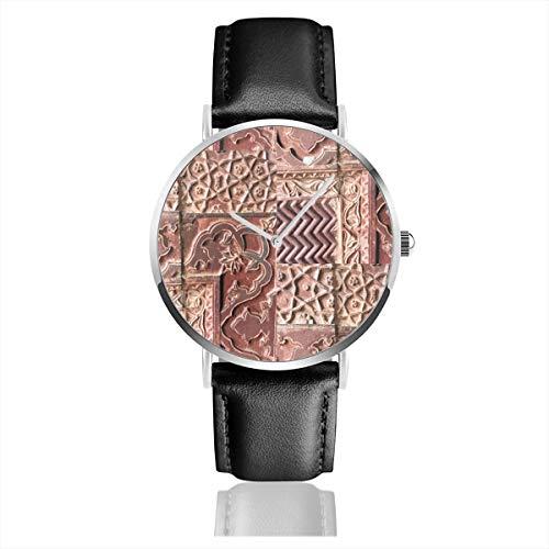 Armbanduhr Quarzuhr Crazy Quilt geschnitzt Sandstein Wände Casual Uhren für Herren Damen mit schwarzem Leder -