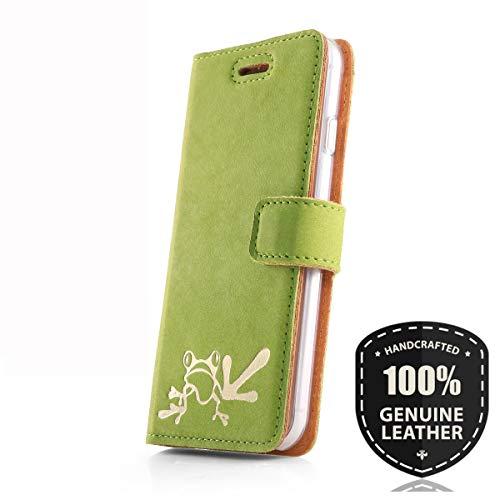SURAZO Gold Frosch - Premium Vintage Ledertasche Schutzhülle Wallet Case aus Echtesleder Nubukleder Farbe Grün für Huawei P9 Lite 2017 / P8 Lite 2017