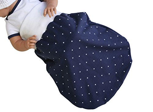 Schlafsack Strampelsack Pucksack LILAKIND hochwertige Handarbeit Frühling/Sommer Marine Sterne Blau Weiß 0-3 M