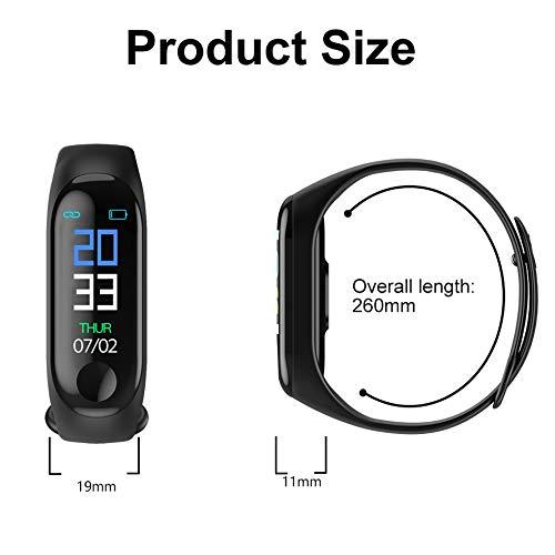 Imagen de aubess pulsera inteligente fitness tracker, m3, pantalla táctil de color, impermeable, ip67, gps, monitor de sueño, frecuencia cardíaca, presión arterial, para mujeres y hombres, 0.15, color negro alternativa