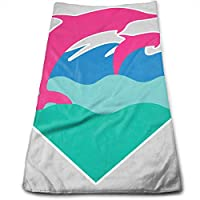 ewtretr Toallas De Mano,Pink Dolphin Cool Towel Beach Towel Instant Gym Quick Dry Towel