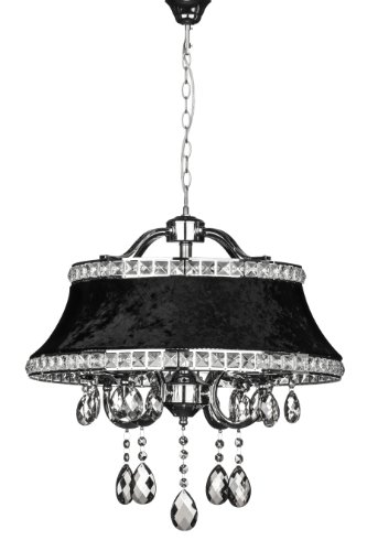 Premier Housewares mit kleiner Edison-Schraube, E14, 40 W Pendelleuchte, Krystle mit schwarzem Lampenschirm, Chrom/Kristall (Frame Schwarz Chrome)