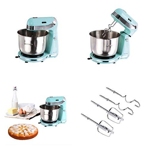 Retro Küchenmaschine mit Edelstahl-Rührschüssel 3 Liter (Knetmaschine, Rührmaschine, 250 Watt, 6 Geschwindigkeitsstufen, Schneebesen, Knethaken, - Türkis Küchenmaschine
