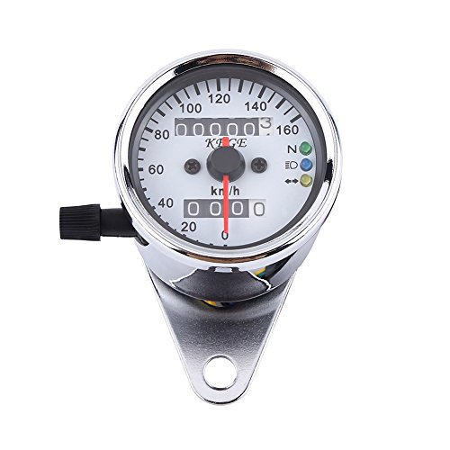 VGEBY Motorrad-Odometer LED-Digital-Tachometer-Messgerät-Hintergrundbeleuchtung-Signallicht-Tachometer-Geschwindigkeits-Lehre - 2 Farben ( Farbe : Sliber )