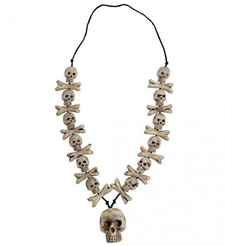shoperama Halloween Kette mit Totenköpfen und Knochen Kostüm Zubehör Schmuck Voodoo
