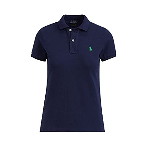 Ralph Lauren Ladies Polo Shirt Skinny Fit Short Sleeve (S, Navy)