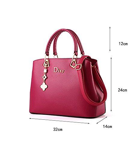 CLOTHES- Borsa femmina borsa in pelle borsa versione coreana sacchetto selvaggio grande borsa medi borsa ( Colore : Rose red ) Rose red