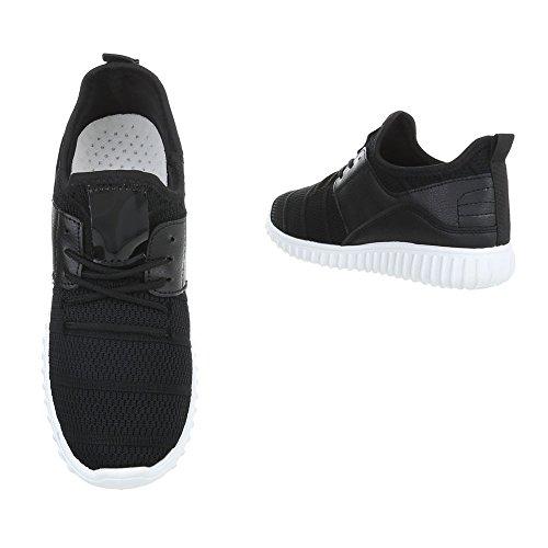 Ital-Design Sneakers Low Damenschuhe Sneakers Low Sneakers Schnürsenkel Freizeitschuhe Schwarz AN1031