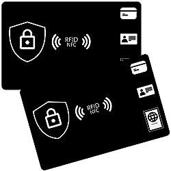 Carte Anti RFID/NFC (Set de 2), Protection Carte bancaire sans Contact Anti piratage (Noir)