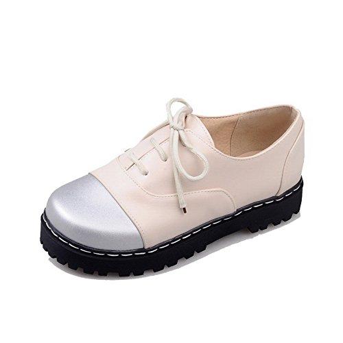 VogueZone009 Damen Niedriger Absatz Gemischte Farbe Schnüren Rund Zehe Pumps Schuhe Cremefarben