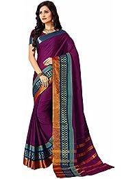 Miraan Women's Cotton Saree With Blouse Piece (Namovedapurple_Purple)