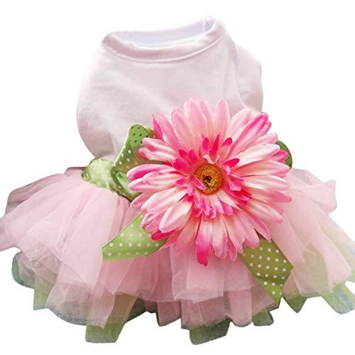 Frühling Sommer Haustier Hund Kleid Kleidung mit großen Sonnenblume niedlichen Prinzessin Rock Hochzeit Ballkleid Party Kleid Pet Supplies - Pink XXL