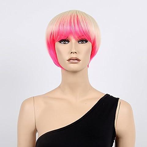 stfantasy kurz Perücken für Frauen Kunsthaar Gerade Hitzebeständig 27,9cm 84g Bob Wig peluca frei Hair Net + Clips, Blond Hot (Hot Pink Thread)