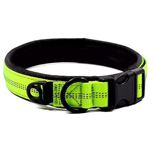 HOPESO Hundehalsband, klassisch, gepolstert, weich, bequem, verstellbar, 3 m, reflektierendes Nylon, luftdurchlässiges Netz, Haustierhalsbänder für Hunde