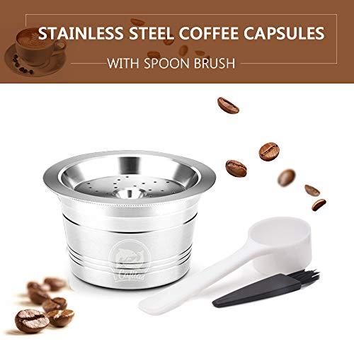 Ritioneer Edelstahl Nachfüllbare Kaffeekapsel,Wiederverwendbarer Kaffeekapsel Filter mit Löffelbürste für K-Gebühr-Espressomaschinen