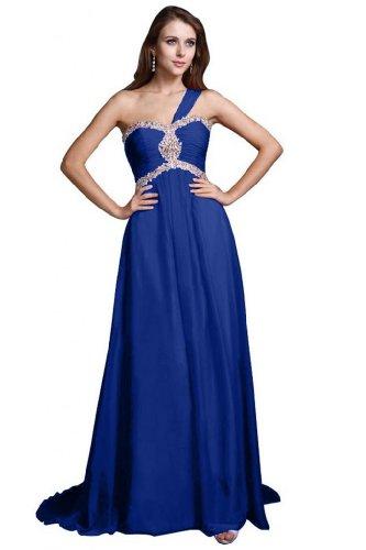 Sunvary elegante linea Shoudler Chiffon One-Vestito lungo da sera Blu