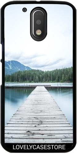 Preisvergleich Produktbild Hülle für Lenovo (Motorola) Moto G4 / G4 Plus - See Ponton Holz Berg Sommer Wald Hafen Plaisance