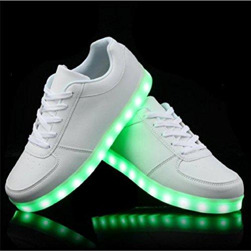 [+Piccolo asciugamano]Luci LED colorati bagliore e ricarica scarpe dargento nuovo scarpe casual USB maschio luminoso e di coppia scarpe femmin c23