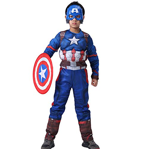 BaronHong Kids Boy Cosplay Costume Halloween Super Hero Muscle Mask Party Time (Capitan America, L)