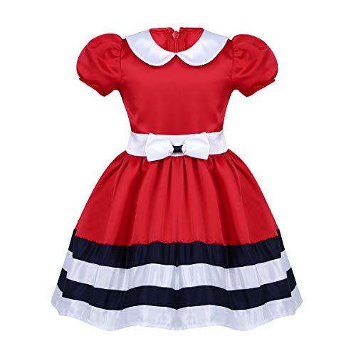 Freebily Baby Mädchen Festlich Kleid Festkleid Kleine Prinzessin Kleid mit Pumphose Kostüm für Halloween Karneval Weihnachten Party Fasching für 3-24 Monate Rot 62/3 Monate