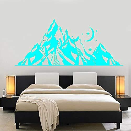 Berge PVC Wandtattoo Landschaft Mond Sterne Kunst Natur Wandaufkleber Schlafzimmer Dekoration Abstrakt Geometrisch Berg Wandbild Hellblau 105x42 cm