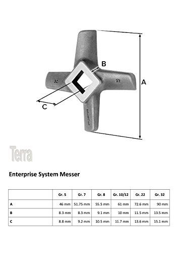 INOX Sichelmesser Gr. 10 & 12 – für Fleischwolf Jupiter – Bosch – Alexanderwerk – Gastroback – Westmark – Prospero – Kenwood - 2
