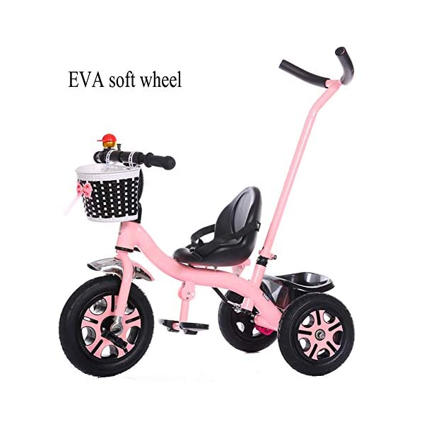 GSDZSY - Children Tricycle 3 Wheel Bike 2 In1, With Removable Push Handle Bar,EVA Soft Wheel, Non-slip Pedal, Rear Wheel With Brake,2-6years,Pink GSDZSY  1