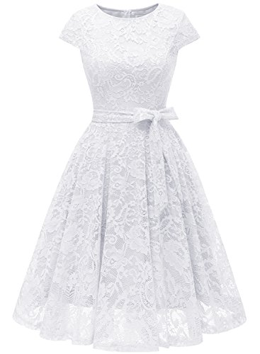 MUADRESS 6008 Damen Kleid aus Spitzen Brautjungfernkleid Cape Knielang Cocktail Vintage Stil Weiß S