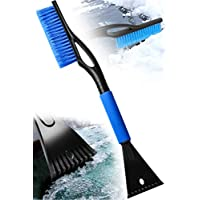 WIN.MAX Ice Scraper & Snow Brush 2in1 with non-slip Comfort Soft Grip Car Windscreen Cleaner Snow Remover and De-icer Tool (Blue)
