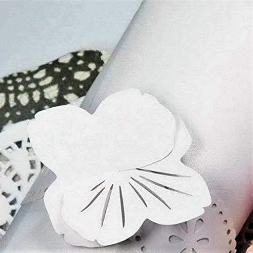 Herzen Blume Elegant Laser Cut Papier Serviette Ringe Hochzeit/Engagement/Geburtstag/Weihnachten Tischdekoration-24Stück Weiße/Blumen ()