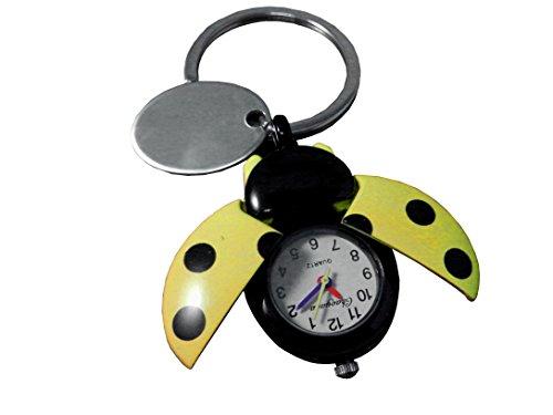 Custom gravé Jaune Coccinelle montre Porte-clés en velours Pochette cadeau Ref – O25-ylw-k