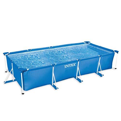 Festnight- Schwimmbecken Easy Set | Schwimmbad Rectangular Frame | Aufstellpool | Fast Set Pool | Swimming Pool | Blau PVC mit Stahlrahmen 220x150x60 / 300x200x75 / 260×160×65 cm