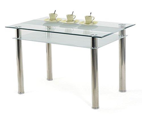 agionda Esstisch Glastisch 120 x 80 cm Kay Jake 80 Mit 76mm Edelstahl Beinen 2 Glasplatten
