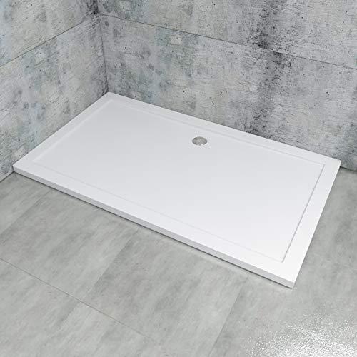 Duschtasse LDZ02-90140, Duschwanne 90x140x4cm, Rechteckwanne, Extraflach aus Acryl in Weiß, Rechteckig, DIN-Anschlüsse für bodenebene Montage geeignet, inklusive Ablauf