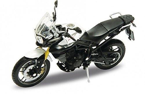 DieCast Modell Motorrad TRIUMPH TIGER 800 weiss metall Welly Motorradmodell 1:18 (1 6 Motorrad)