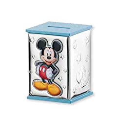 Idea Regalo - VALENTI & CO. Disney Baby - Salvadanaio Topolino Mickey Mouse con Lamina Colorata in Argento per Bambini