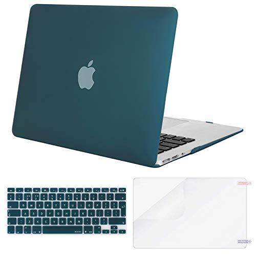 MOSISO Hülle Kompatibel MacBook Air 13 Zoll (A1369 / A1466, 2010-2017 Version), Ultradünne Plastik Hartschale Hülle mit Passender Farbe Tastaturschutz (EU-Layout) mit Bildschirmschutz, Deep Teal